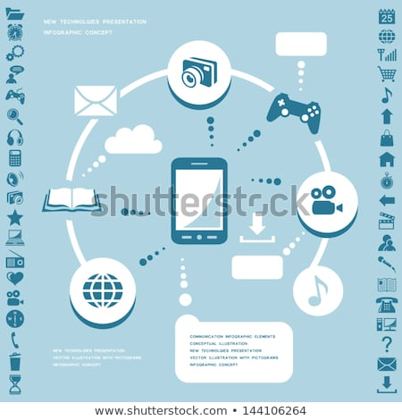Foto stock: Telecom Communication Blue Vector Button Icon Design Set