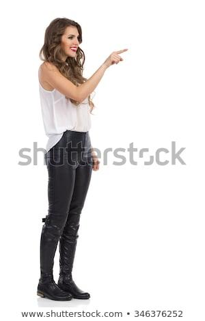 Nő kisajtolás virtuális gomb izolált fehér Stock fotó © Elnur