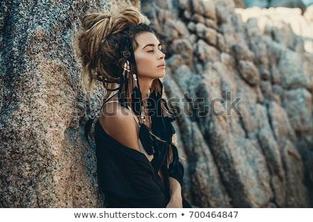beautiful girl with dreadlocks hair posing Stock photo © goce