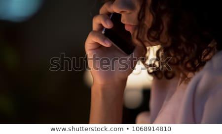 triest · melancholicus · jonge · vrouw · vergadering · bed · home - stockfoto © neonshot