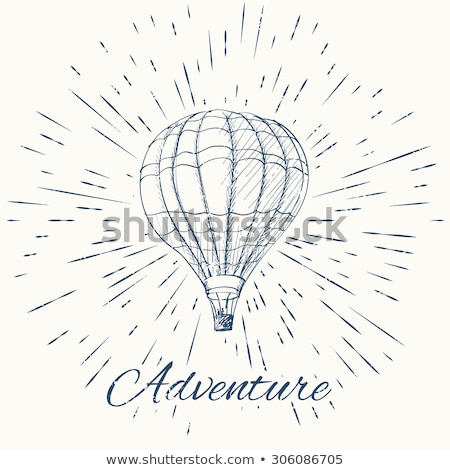 air balloon and vintage sun burst frame adventure emblem stock photo © netkov1
