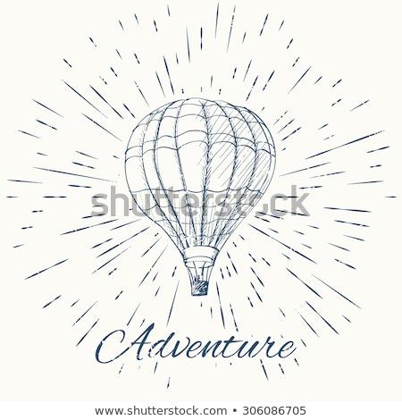 air balloon and vintage sun burst frame adventure emblem stock photo © netkov1