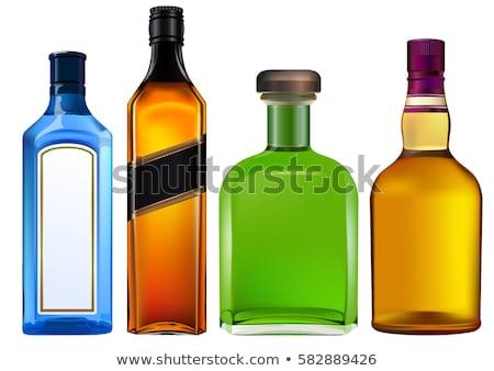 Colorato Alcol Bottiglie Vino Sfondo Verde Foto D