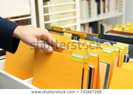 ストックフォト: レコード · フォルダ · カード · クローズアップ · 表示 · 選択フォーカス