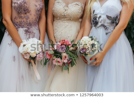 menyasszonyok · fehér · virágok · virágcsokor · esküvő · nap · rózsa - stock fotó © svetography