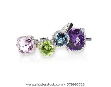 Zdjęcia stock: Diamond Amethyst Purple Ring Engagement Wedding Bridal