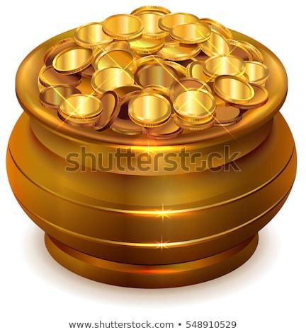vetor · caldeirão · completo · moedas · de · ouro · ilustração · natureza - foto stock © orensila