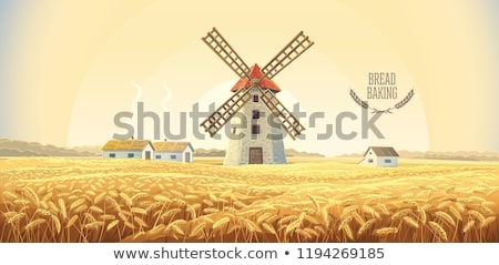 windmill in autumn old poster stock photo © tracer
