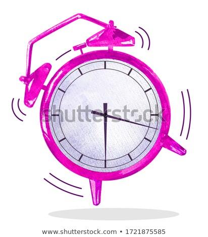 Heldere roze cartoon horloge schets vector Stockfoto © adrian_n