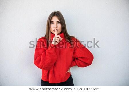közelkép · portré · játékos · vonzó · lány · kötött · pulóver - stock fotó © deandrobot