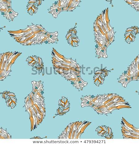 Angyalszárnyak végtelenített rajz minta terv madár Stock fotó © aliaksandra
