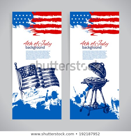 4th of july banners with ink splashes Stock photo © SArts
