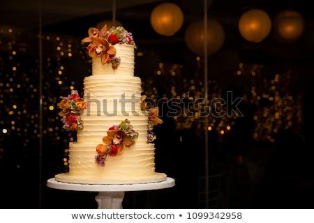delicioso · bolo · de · noiva · casamento · festa · chocolate · azul - foto stock © tekso