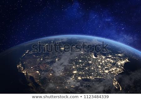 City · Lights · Мир · карта · север · Америки · Элементы · изображение - Сток-фото © ixstudio