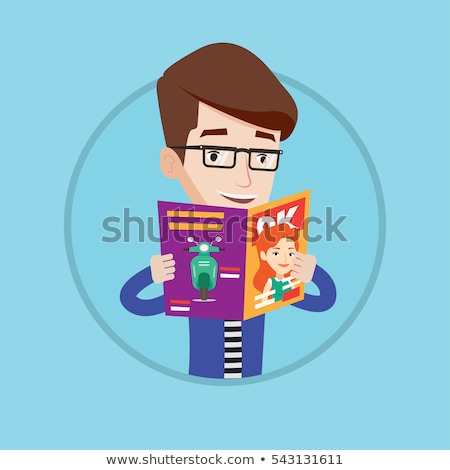 Happy young man standing isolated reading gazette Stock photo © deandrobot