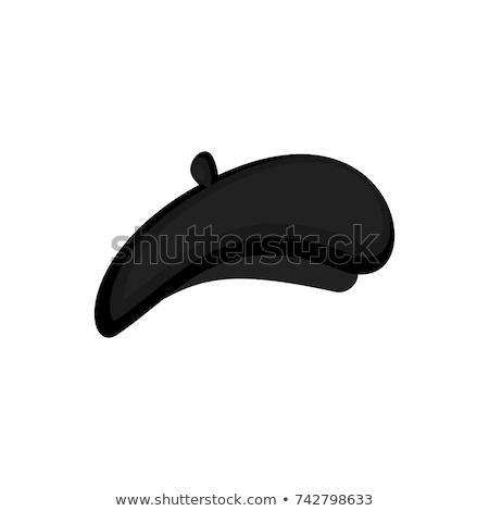 черный берет изолированный Cap моде дизайна Сток-фото © popaukropa