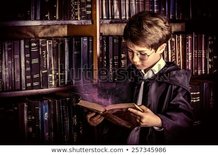 Kid Boy Wizard Book Study Stock photo © lenm