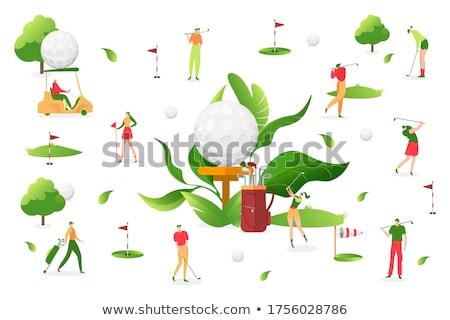 golflabda · nő · tart · klub · golf · jókedv - stock fotó © is2