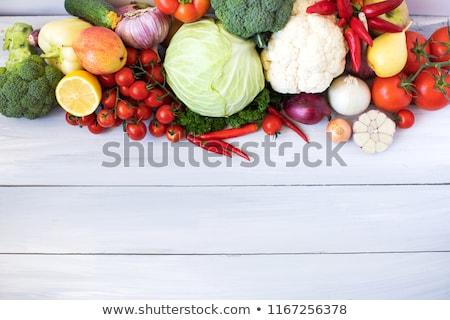 blanco · mesa · vajilla · hortalizas · superior · vista - foto stock © yelenayemchuk