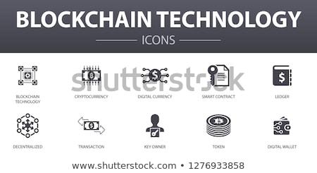 bitcoin · dun · lijn · vector · icon · geïsoleerd - stockfoto © orson