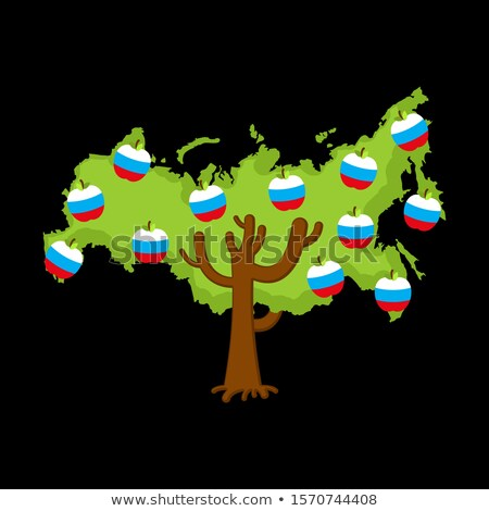 Patriotic apple tree Russia map. apples Russian flag. National S Stock photo © popaukropa
