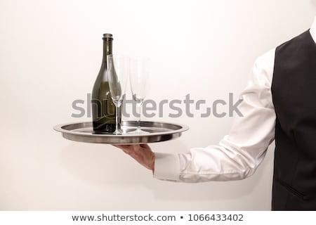 csetepaté · pezsgő · szemüveg · bor · boldog · mező - stock fotó © dashapetrenko