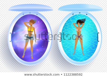 Young woman resting in floating tank with space Stock photo © Sonya_illustrations