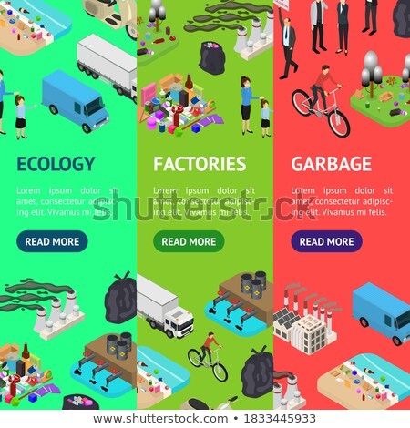 Pollution industry isometric vertical flyers Stock photo © studioworkstock