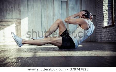 Nyújtás fiatalember sport fitnessz Franciaország erdő Stock fotó © FreeProd