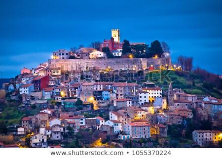 Cidade colina madrugada ver região Croácia Foto stock © xbrchx
