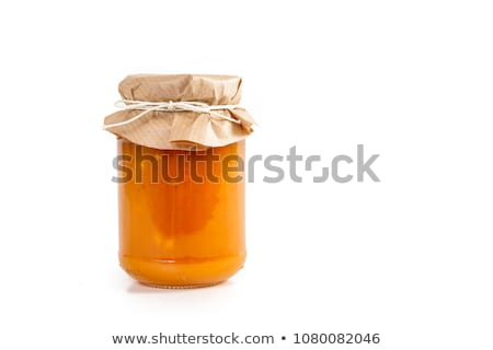 Stock photo: apricot jam on white background