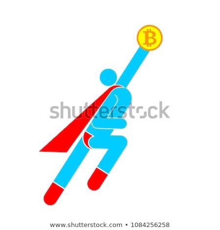 Stockfoto: Bitcoinman Flying Up Superhero Pictogram Super Hero Sign And C
