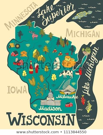 Cartoon Wisconsin illustrazione sorridere grafica america Foto d'archivio © cthoman