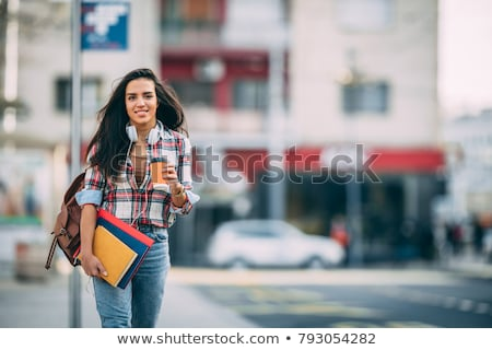 肖像 若い女の子 学生 イヤホン リュックサック ストックフォト © deandrobot