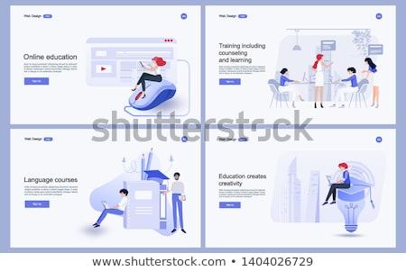 Nowoczesne edukacji lądowanie strona studentów laptopy Zdjęcia stock © RAStudio