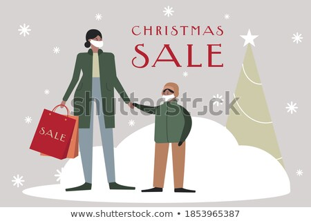 christmas card with children and gifts vector isolated illustration stock photo © pikepicture