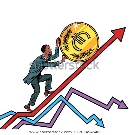 African American man roll a euro coin up Stock photo © studiostoks