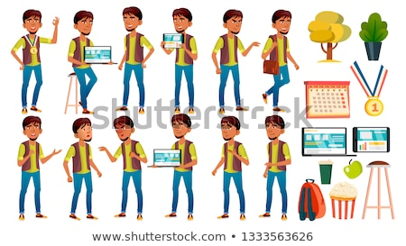 teen boy poses set vector arab muslim active expression for presentation print invitation des stock photo © pikepicture