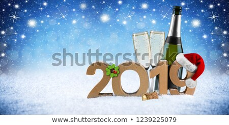 Happy new year 2019 Merry christmas bottle star Stock photo © cienpies