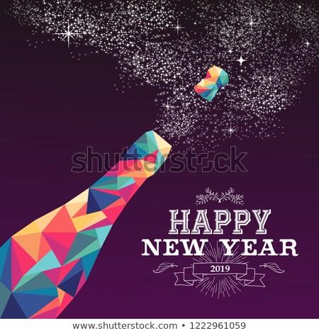 capodanno · 2015 · champagne · bottiglia · poster · design - foto d'archivio © cienpies