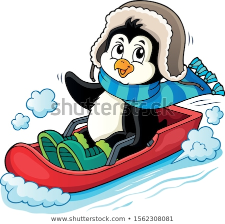 sledging penguin theme image 1 stock photo © clairev