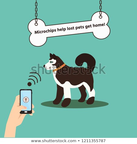 Stockfoto: Cartoon · hond · microchip · illustratie · dier