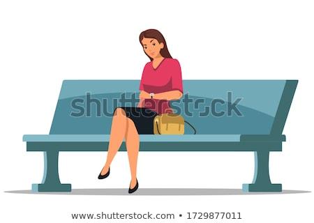 Karikatür kız oturma örnek çocuk çocuk Stok fotoğraf © cthoman
