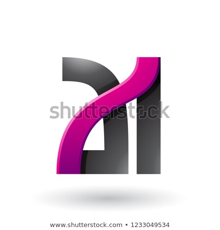 Magenta and Black Bold Dual Letters A and I Vector Illustration Stock photo © cidepix