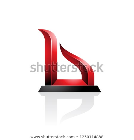Red and Black Bow-like Embossed Letter B Vector Illustration Stock photo © cidepix