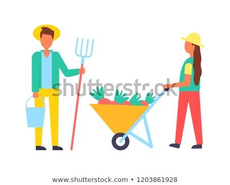 Сток-фото: Lady · рабочих · фермы · оборудование · вектора · баннер