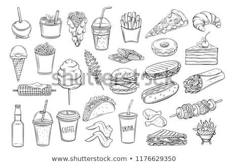 Chip Fried Potato Monochrome Vector Illustration Stock photo © robuart