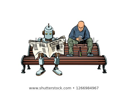 the robot reads the morning newspaper a drunk man sits next stock photo © studiostoks