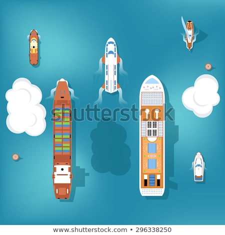 Beautiful Ships on Water Surface Illustrations Set Stock photo © robuart