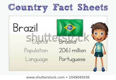 Country fact sheet with flag and citizen Stock photo © colematt